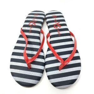 New Yosi Samra Red Stripe Flip Flops Size: 6 & 7